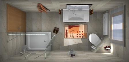 3D Bad mit großen Fliesen von Unicom Starker Natural Slate Winter im kleinen Bad