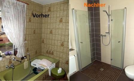 Badsanierung-Vorher mit grüner Badewanne nachher mit barrierefreier gefliester Dusche