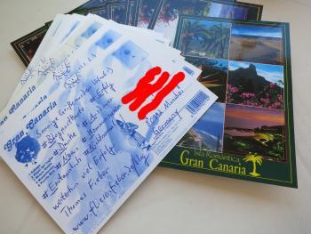 Insgesamt habe ich 19 Blogpostkarten aus dem Urlaub versendet