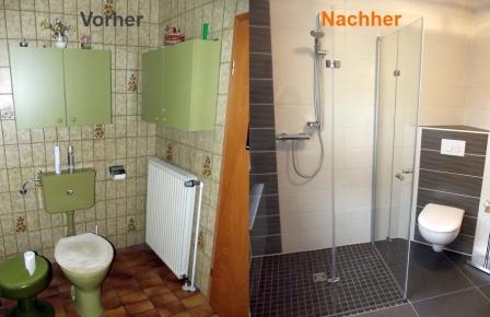 Die Badsanierung. Der Toilettenbereich. Vorher mit sichtbaren Spülkasten, jetzt mit Eck-WC