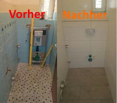 Verfliestes WC mit großen Wandfliesen