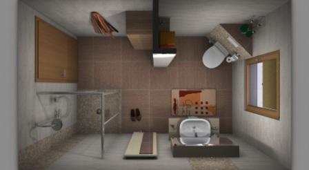 Bad mit großen Wand und Bodenfliesen. Geflieste Ablagen