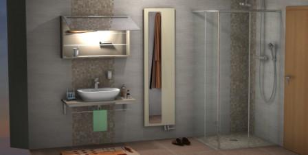 Plattenheizkörper und Spiegelschrank