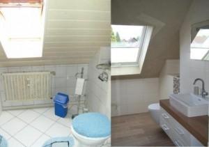 Vorher-Nachher Moderne Fliesen im Duschbad mit Holzoptikfliesen