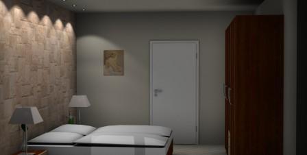 3D Planung einer Steinwand im Schlafzimmer