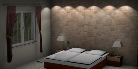 Steinwände im Schlafzimmer