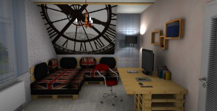 Fototapete mit Palettensofa und Schreibtisch