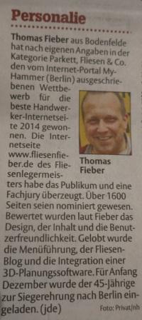 Thomas Fieber HNA Artikel Handwerkerseite des Jahres 2014