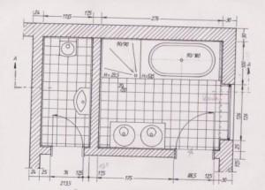 Verlegeplan für Fliesen. Draufsicht Badezimmer und WC