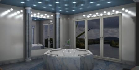 wellness badezimmer mit whirlpoolwanne fliesen fieber. Black Bedroom Furniture Sets. Home Design Ideas