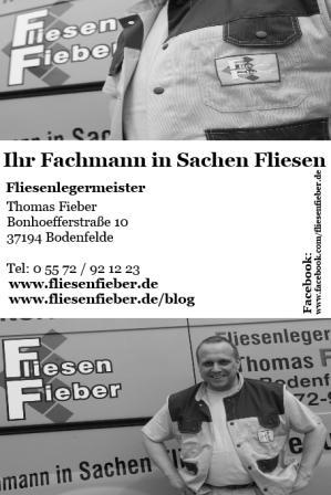 Fliesen Fieber Werbeanzeige Entwurf für den Schüttenhoff Festschrift in Bodenfelde